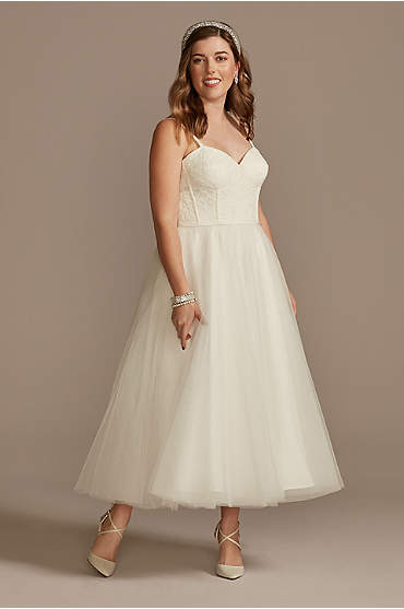 Corded Lace Corset Bodice Dress with Tulle Skirt