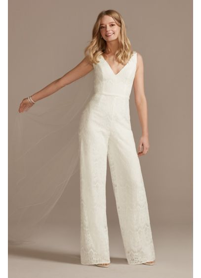 Scalloped Lace V-Neck Tank Wide-Leg Jumpsuit - A beautiful alternative to a traditional white dress,