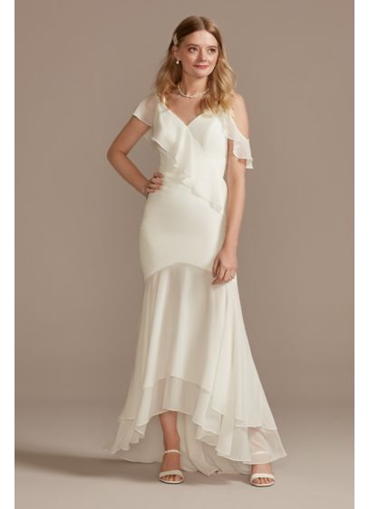 Asymmetrical Neck Chiffon Dress with Ruffled Hem - Featuring an asymmetrical neckline, cascading ruffles at the