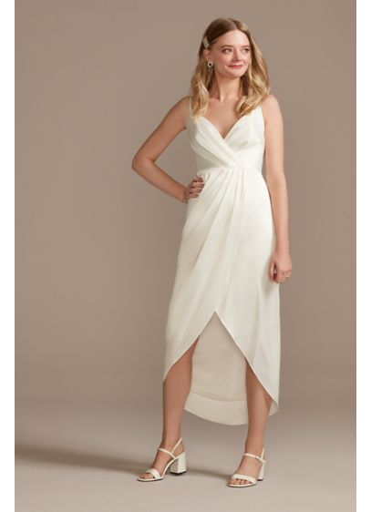 Hand-Pleated Spaghetti Strap Charmeuse Slip Dress - Perfect for casual-elegant ceremonies, rehearsal dinners, or wedding