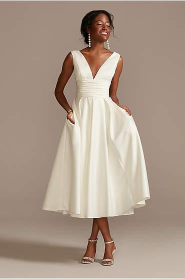 Satin V-Neck Tea Length A-Line Dress