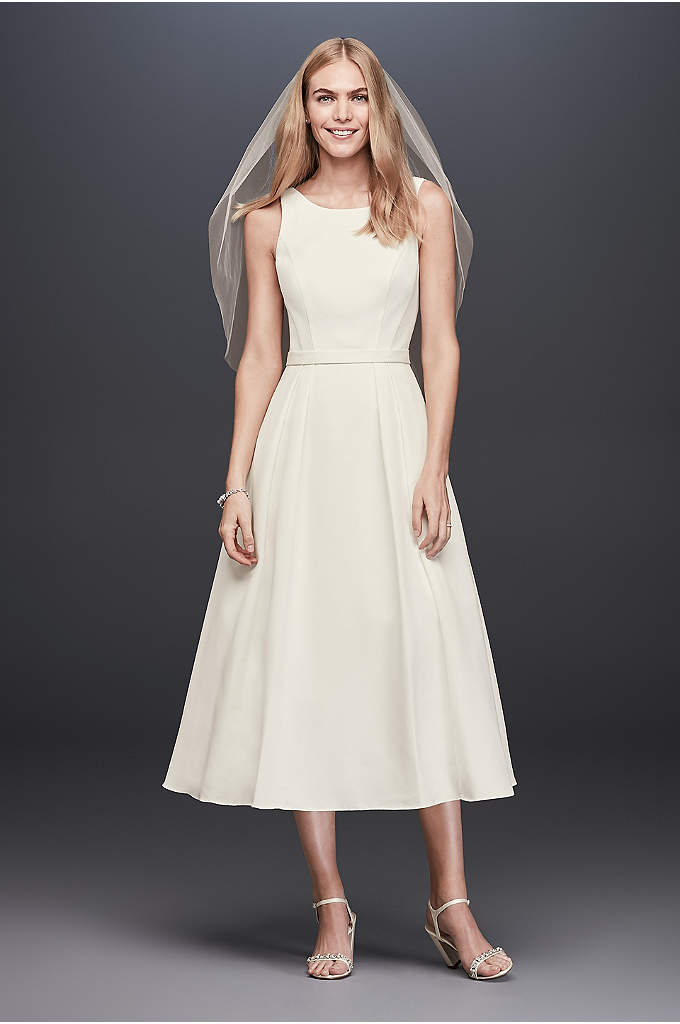 Faille Tea-Length A-Line Dress with Pockets - Defined by figure-flattering pleating on the bodice and