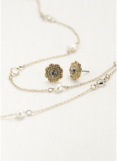 David's Bridal Yellow (Pearl and Crystal Chain Necklace Set.)