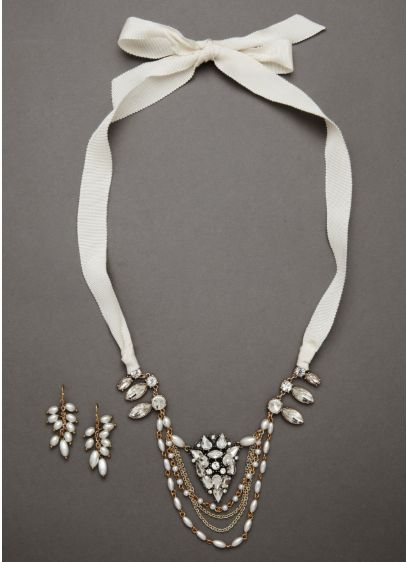 Grosgrain Modern Pearl Set - Wedding Accessories