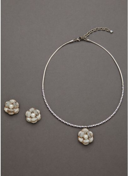 Enamel Pearl Flower Set - Wedding Accessories