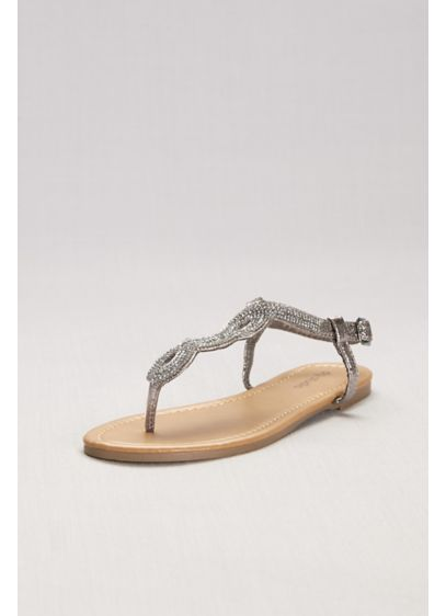 David's Bridal Grey (Crystal-Studded Scalloped Metallic T-Strap Sandals)