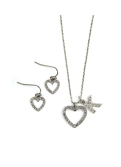Personalized Open Crystal Heart Necklace Set - Wedding Gifts & Decorations