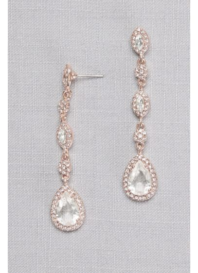 Crystal Cluster Drop Earrings - Wedding Accessories