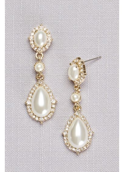 David's Bridal Ivory (Triple Pearl Pave Drop Earrings)