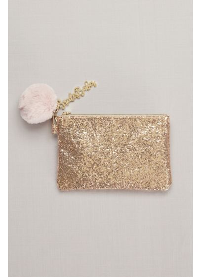 Bride's Babes Glitter Pouch with Pompom Keychain - Wedding Gifts & Decorations