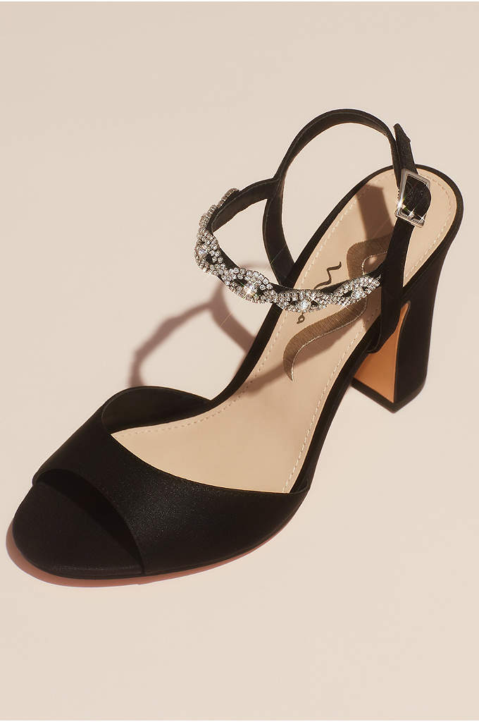 Satin Block Heel Sandals with Crystal Ankle Strap