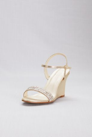 a006d65fa David s Bridal Grey Ivory Yellow Wedges (Crystal Embellished Quarter-Strap  Wedges)