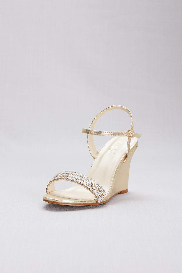 5815399c9 David's Bridal Grey;Ivory;Yellow Wedges (Crystal Embellished Quarter-Strap  Wedges)