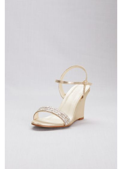 David's Bridal Yellow (Crystal Embellished Quarter-Strap Wedges)