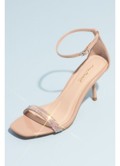 Bamboo Beige (Square-Toe Crystal Strap Heeled Sandals)
