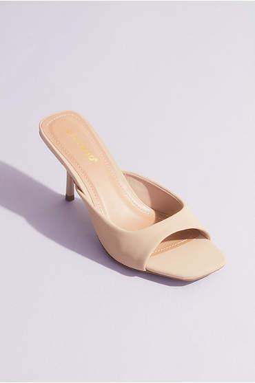 Square Toe Kitten Heel Mule Sandals