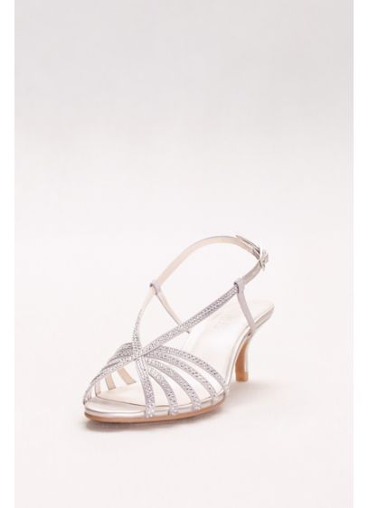 David's Bridal Grey (Rhinestone-Embellished Strappy Low Heels)