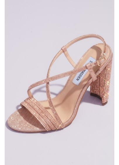 Steve Madden x DB Pink (Strappy Crystal Block Heels with Square Front)