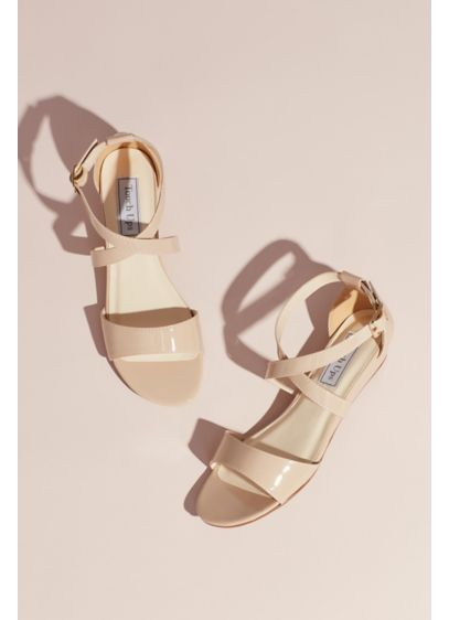 Touch Ups Beige (Patent Low Wedge Sandals with Crisscross Straps)