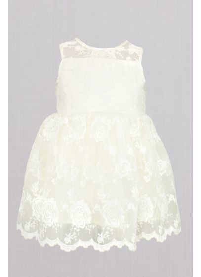 Embroidered Lace Sleeveless Flower Girl Dress - Embroidered roses bloom atop this pretty-as-can-be flower girl