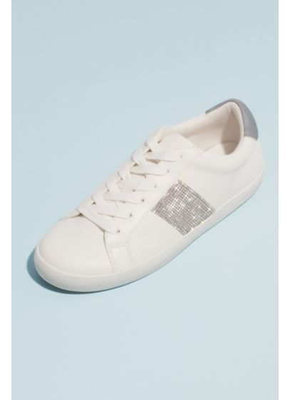Crystal Stripe Rubber Girls Lace-Up Sneakers - A casual, all white sneaker gets a fun