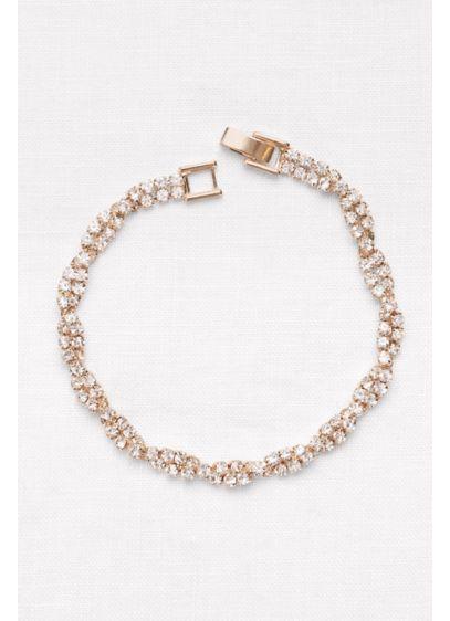 Dazzling Twisted Pave Rhinestone Bracelet - Wedding Accessories