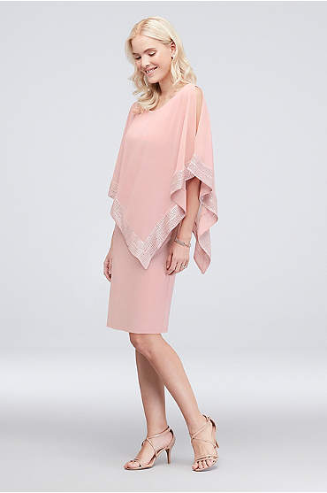 Short Jersey Cape Dress with Pleated Trim