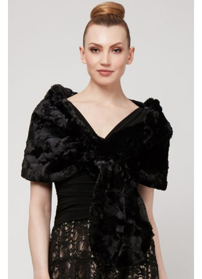 Faux Fur Pull-Through Wrap - This plush faux-fur wrap is the perfect finishing
