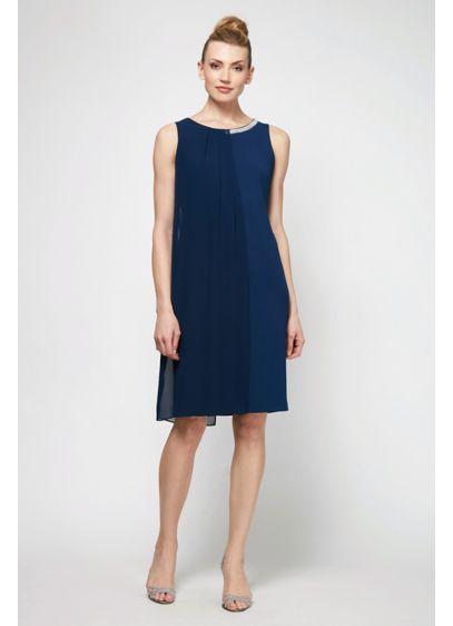 SL Fashions Blue (Short Jersey Sheath Dress with Chiffon Overlay)