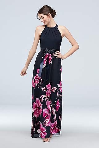 Vestido Recto de Chiffon Floral Con Escote Redondo