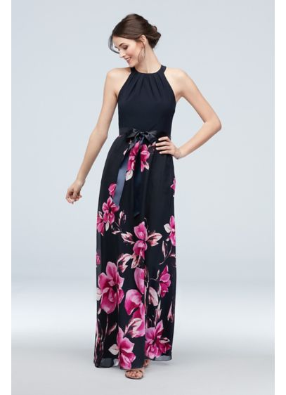Cascading Floral Chiffon Sheath with Round Neck - Rich floral blooms cascade down the skirt of