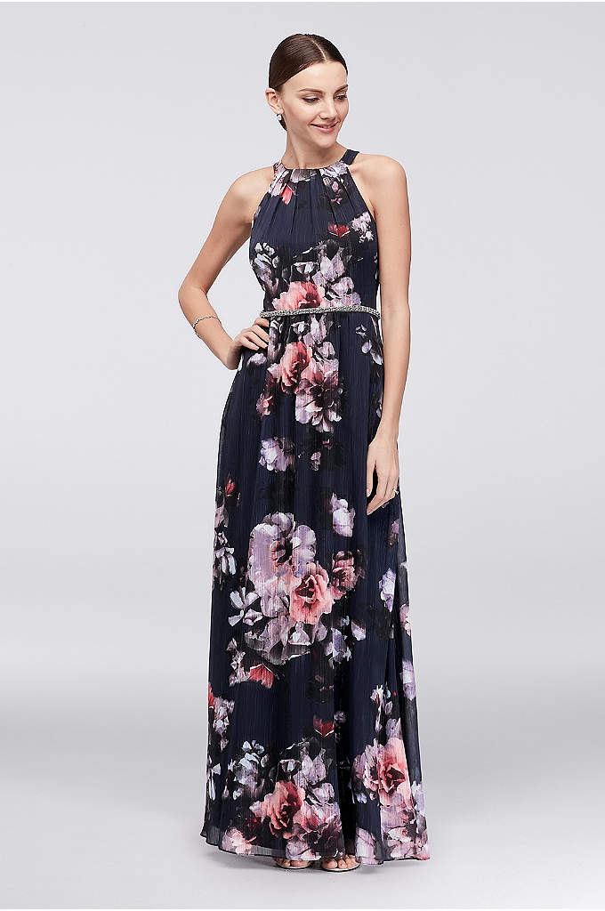 Floral Chiffon Halter Dress with Beaded Belt - This floral chiffon halter dress makes a beautiful