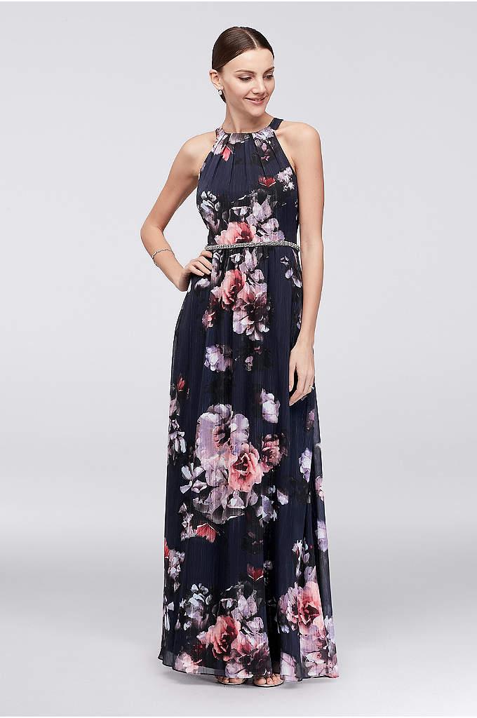 Floral Chiffon Halter Dress with Beaded Belt - This floral chiffon halter dress makes a beautiful