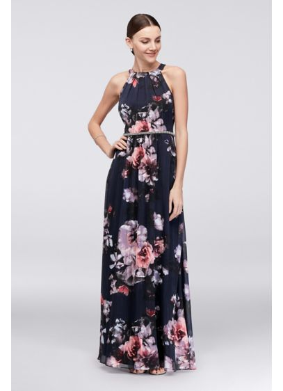 Floral Chiffon Halter Dress With Beaded Belt David S Bridal