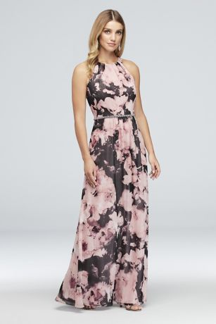 Floral Crinkle Chiffon Sheath with Beaded Waist - This flowy, metallic-detailed crinkle chiffon dress is full