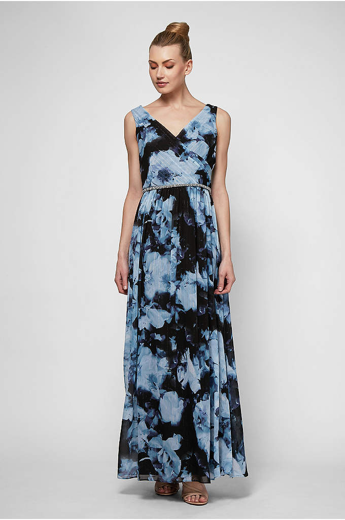 Beaded Floral-Printed Chiffon Surplice Maxi Dress - Long, luxurious, and flowy as can be, this