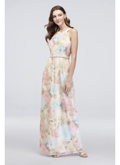 Floral-Printed Chiffon Sheath with Beaded Waist - This flowy chiffon dress is full of lovely