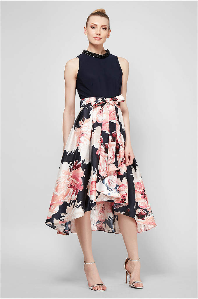 Beaded High Neck Floral Printed Dress with Keyhole - Topped with beads at the high neck and
