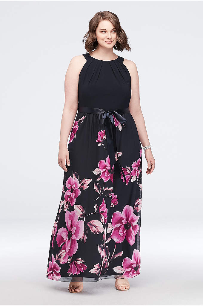 Border Print Plus Size Tie-Neck Dress with Bow - This a flowy A-line halter dress features a