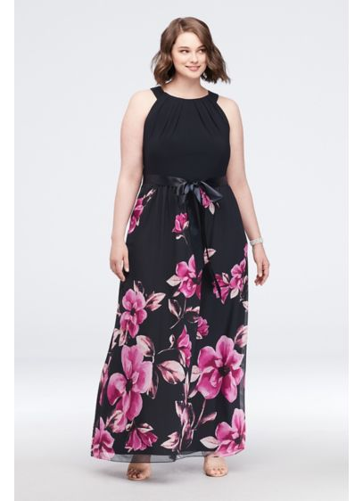 Border Print Tie-Neck Plus Size Dress with Bow - This a flowy A-line halter dress features a