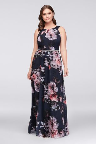 Floral Plus Size Halter Dress with Beaded Belt | David\'s Bridal
