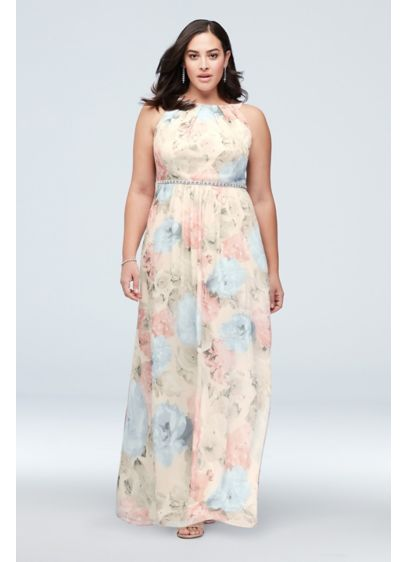 Floral-Printed Plus Size Sheath with Beaded Waist - This plus-size flowy chiffon dress is full of