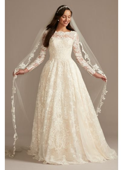 Long Sleeve Beaded Lace Folded Skirt Wedding Dress - Yards of opulently beaded and appliqued tulle create