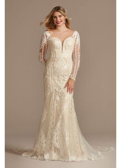 Long Mermaid / Trumpet Glamorous Wedding Dress - Oleg Cassini