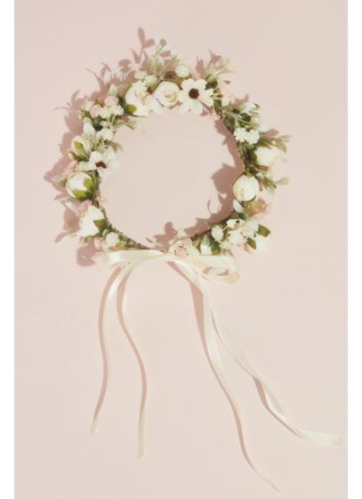 Faux Floral Wreath Flower Crown with Bow - Add this nature-inspired wreath crown, topped with beautiful