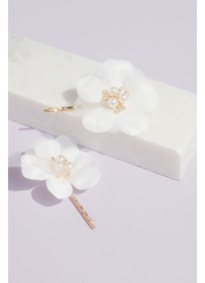Fabric Petal Floral Hair Pin Set with Pearl Accent - Wedding Accessories
