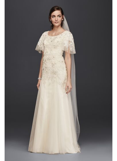 Long A-Line Romantic Wedding Dress - Melissa Sweet