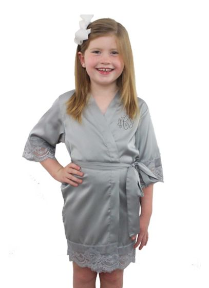 Personalized Children's Satin Lace Robe - Wedding Gifts & Decorations