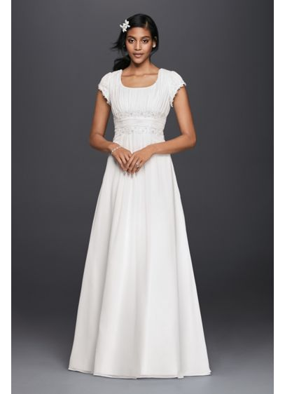 0cd07257f677 Short Sleeved Empire Waist Chiffon Wedding Dress. SLV9743. Long A-Line  Beach Wedding Dress - David's Bridal Collection