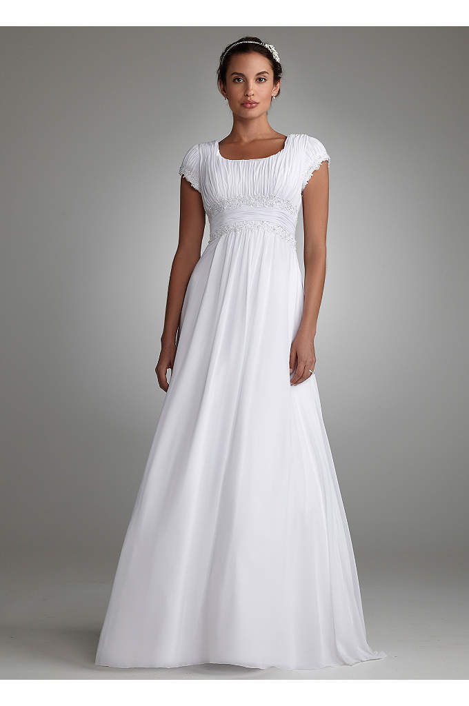 Short Sleeved Empire Waist Chiffon Wedding Dress - Add coverage without sacrificing style in this gorgeous